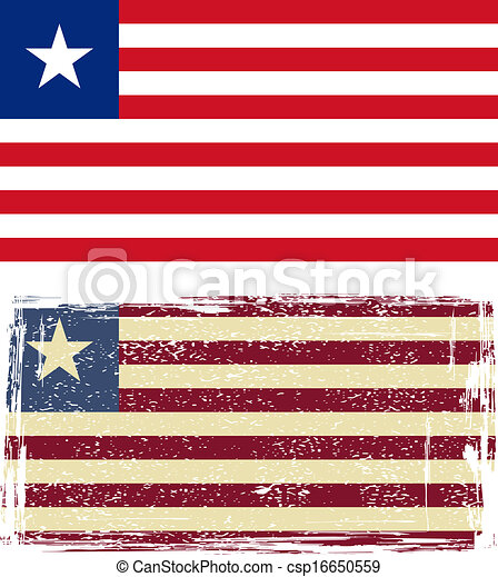 Liberian grunge flag. Vector illustration - csp16650559