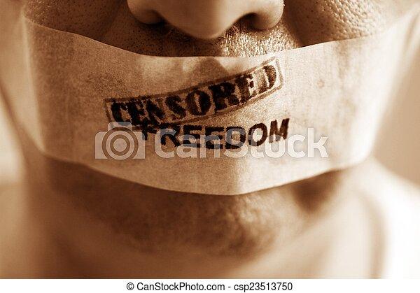 liberté, censuré - csp23513750