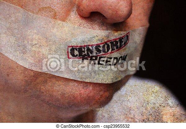 liberté, censuré - csp23955532