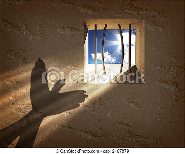 liberté, concept., s'échapper, prison - csp12167879