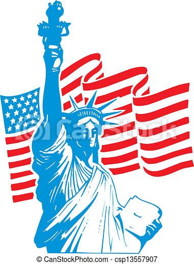 La estatua de la libertad y la bandera de EE.UU - csp13557907