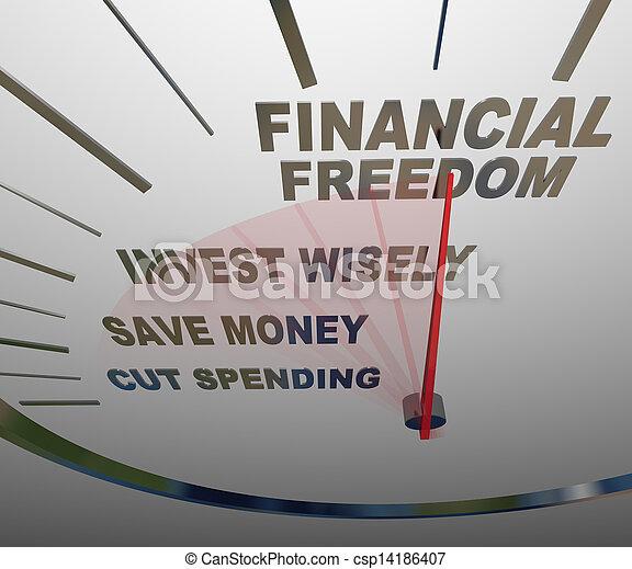 libertad financiera, invesment, ahorros, dinero, velocímetro - csp14186407