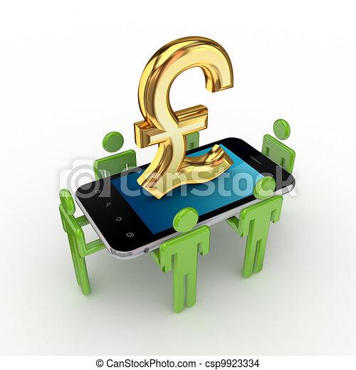 libra, pessoas, telefone, pequeno, sterling., 3d - csp9923334