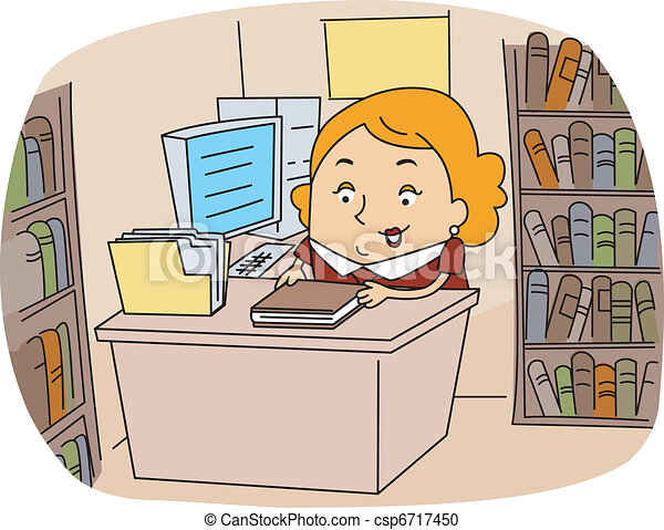 illustration of a librarian at work vector clipart search rh canstockphoto com library clipart for kids library clip art