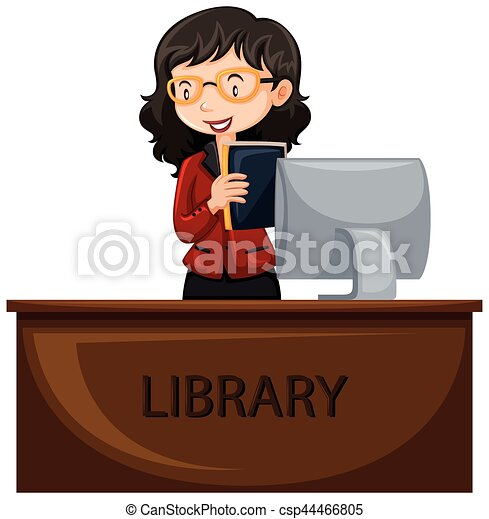 librarian working at desk illustration vector clipart search rh canstockphoto com librarian clip art free library clip art images