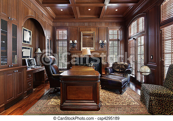 Library in luxury home with large desk stock photographs Search