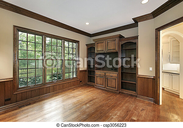 Library in new construction home - csp3056223