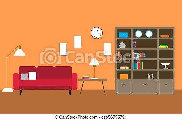 Library Room With Sofa   Csp56755731