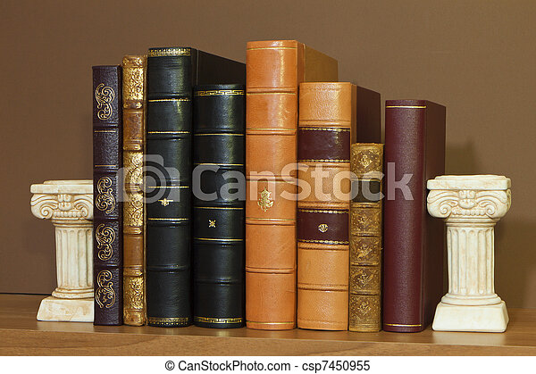 Library with old antique books - csp7450955