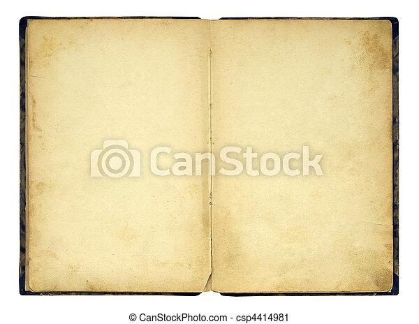 libro aperto, vecchio, isolato, vuoto - csp4414981