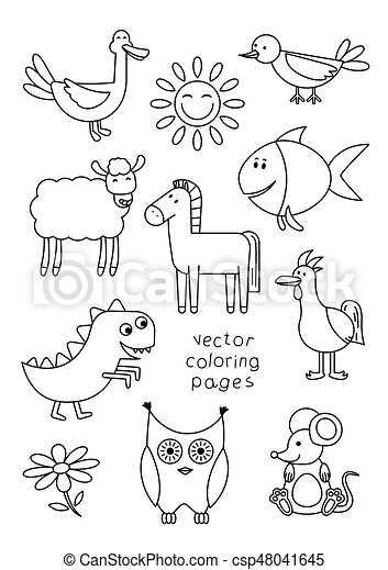 Libro colorear, animales, caricatura. Libro, colorido,... vector eps ...