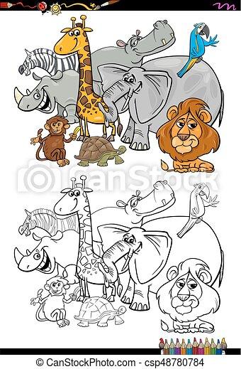 Libro colorear, animales, caricatura, safari. Colorido, animal ...