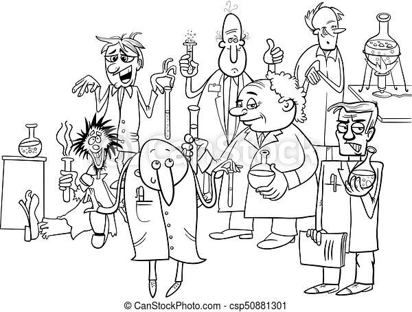 Libro colorear, caricatura, caracteres, científicos.... clipart ...