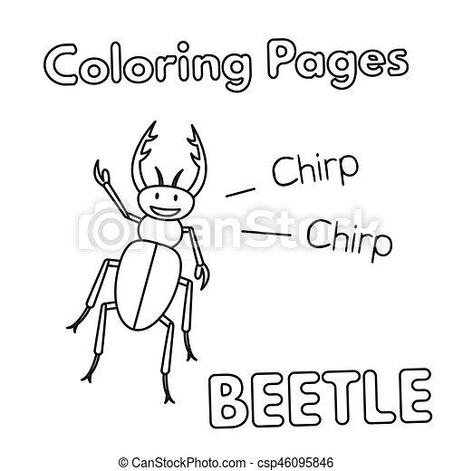Libro colorear, caricatura, escarabajo. Colorido, illustration ...