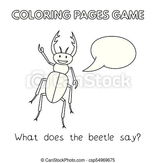 Libro colorear, caricatura, escarabajo. Vector, divertido, niños ...