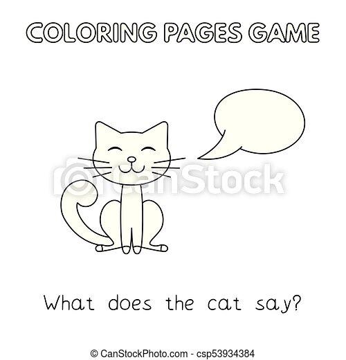 Libro colorear, caricatura, gato. Vector, divertido, niños, game ...