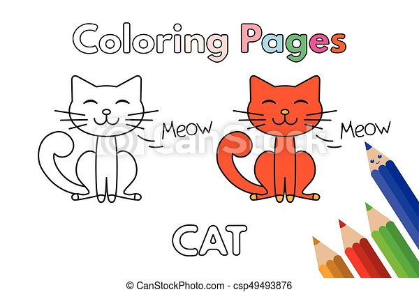 Libro colorear, caricatura, gato. Vector, colorido, illustration ...