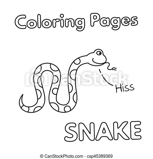 Libro colorear, caricatura, serpiente. Colorido, illustration ...