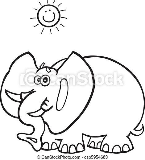 Libro colorear, elefante africano. Divertido, colorido, elefante ...