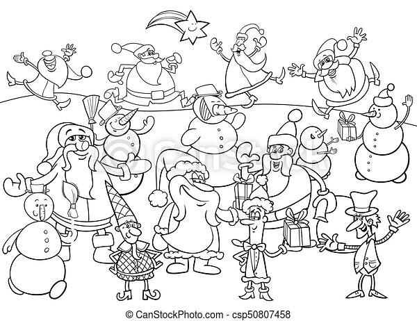 Libro colorear, grupo, navidad, caracteres. Colorido, grupo, santa ...