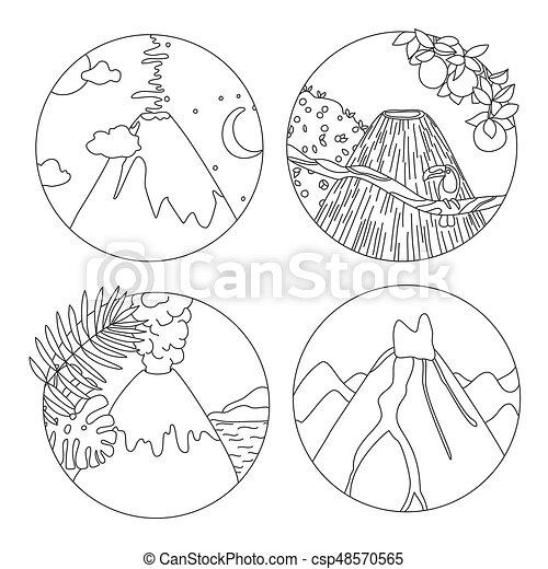 Página De Color Con Volcanes Página De Colorear Libros Con