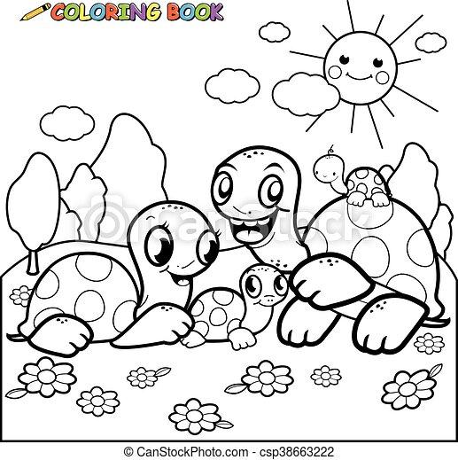 Libro colorear, tortugas, página. Contorno, familia , imagen ...