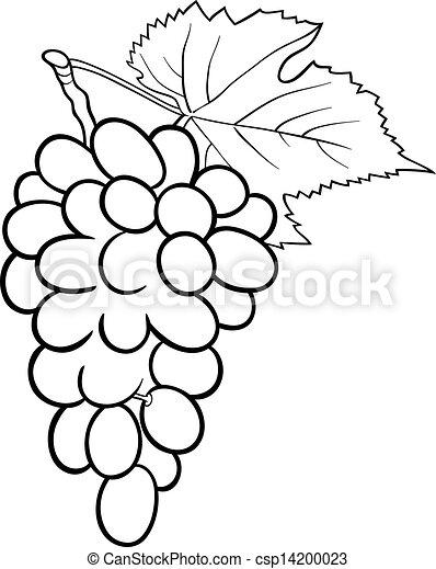 Ilustración De Uvas Para El Libro De Colorear Ilustración