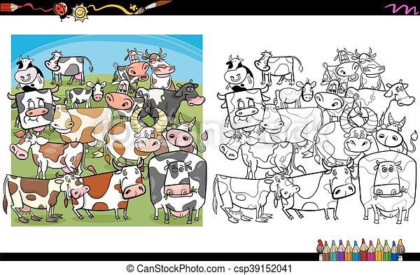 Libro de colorear personajes de vacas - csp39152041