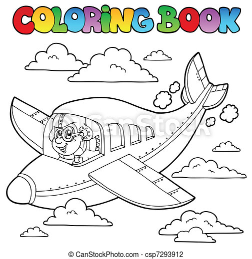 libro, coloritura, aviatore, cartone animato - csp7293912
