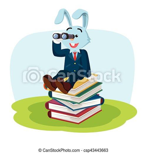 Conejo de negocios en la pila de libros - csp43443663