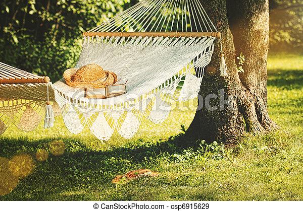 La vista de la hamaca y el libro en un día de verano - csp6915629