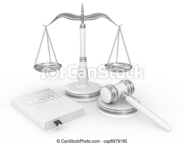 libro de derecho, martillo, legal, escalas - csp8979195