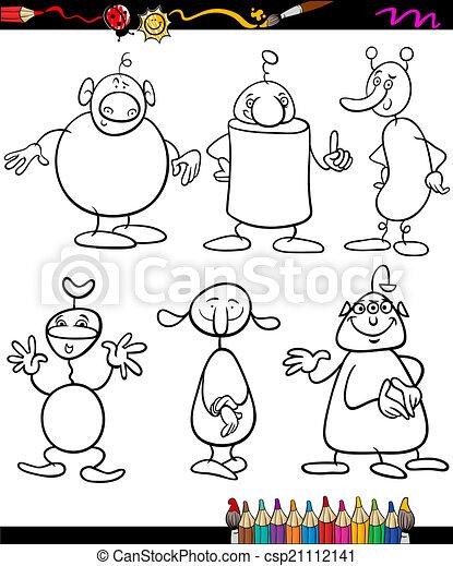 Libro, extranjeros, colorido, conjunto, caricatura.... vector eps ...