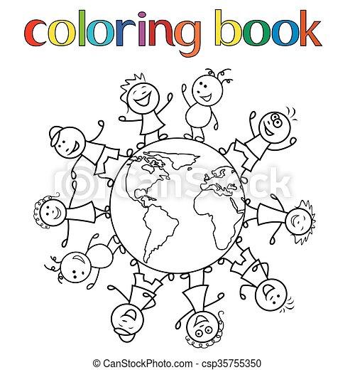 Ninos De Todo El Mundo Para El Libro De Colorear Ninos Felices