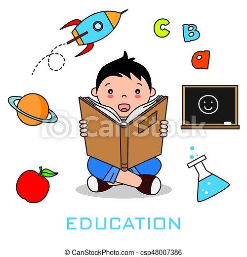 Niños leyendo un libro - csp48007386