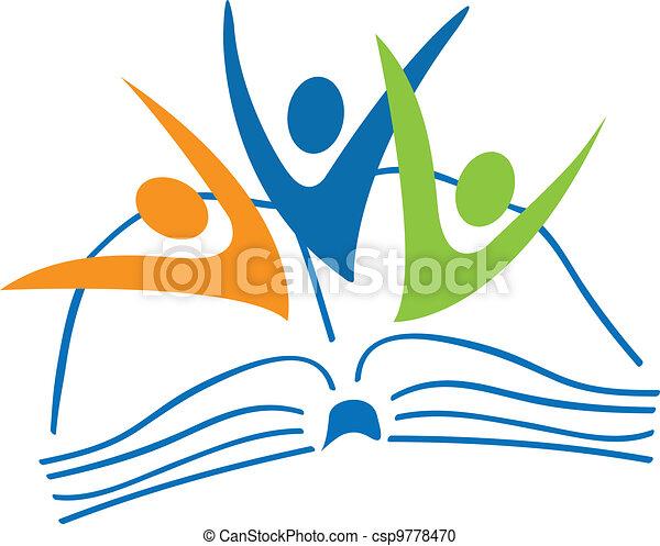 Libro abierto y estudiantes figuran logo - csp9778470