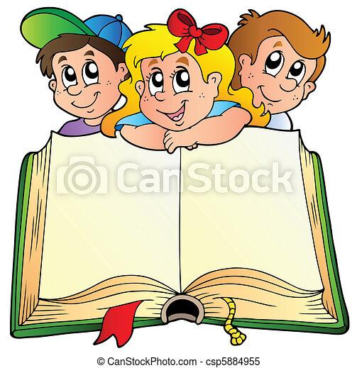 Tres niños con un libro abierto - csp5884955