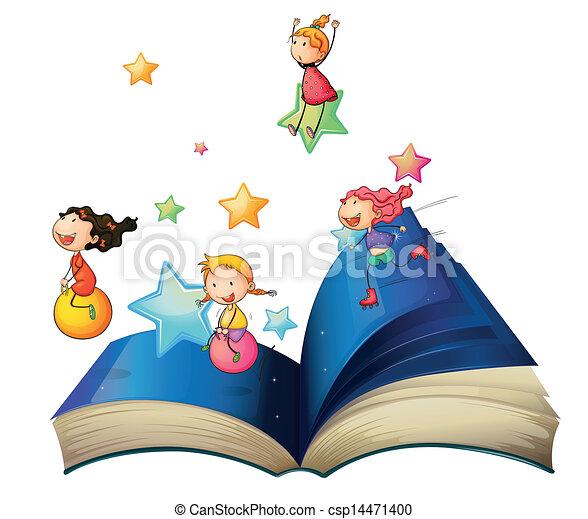 Un libro con niños jugando - csp14471400
