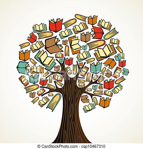 Un árbol de educación con libros - csp10467310