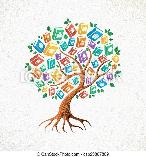 Conocimiento y educación concepto de libros de árboles - csp23867889