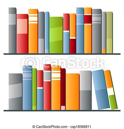Libros seguidos de fondo blanco - csp18366911
