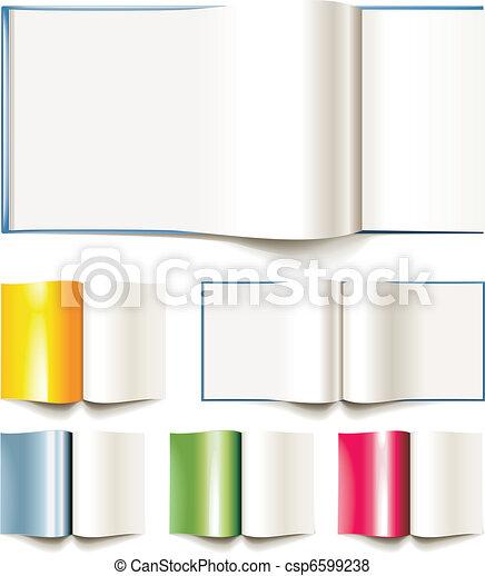 Libros Folleto Conjunto Vector Blanco Diferente Abierto