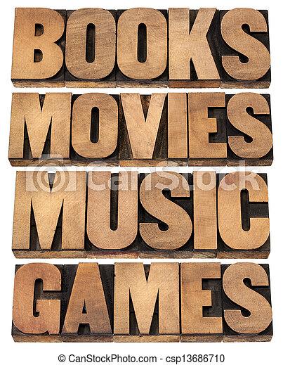 Libros, películas, música y juegos - csp13686710