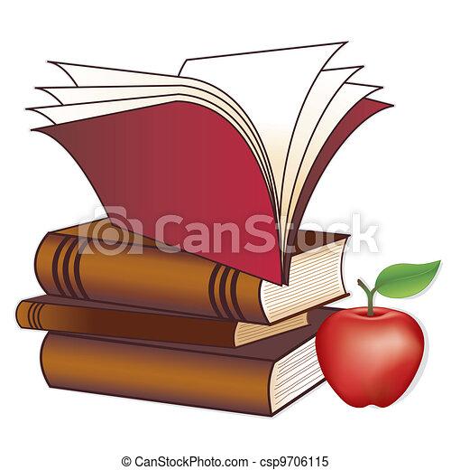 Libros, manzana para el maestro - csp9706115