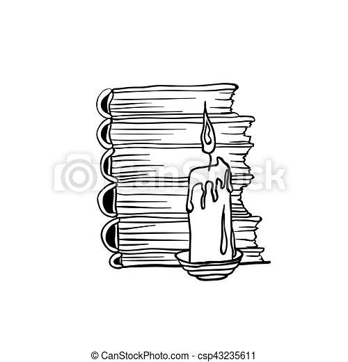 Libros para colorear, pila, libro, candle., diseño, página. Ser ...