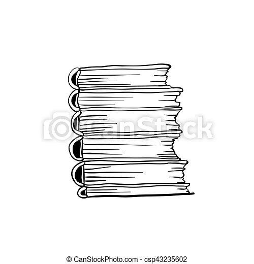 Libros para colorear, pila, libro, diseño, página. Colorido ...