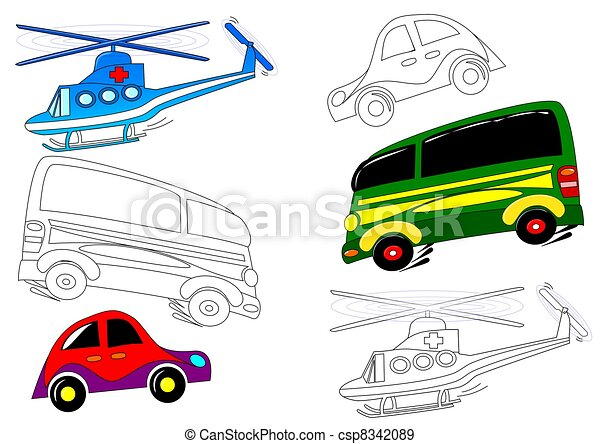 Libros para colorear, -, transporte. Colorido, transporte, avión ...