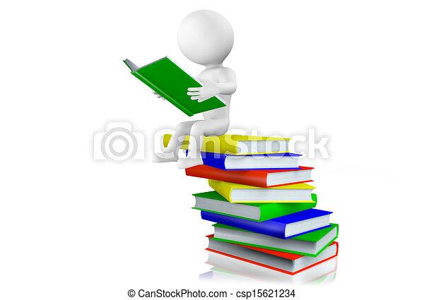 Hombre 3D leyendo en una pila de libros - csp15621234