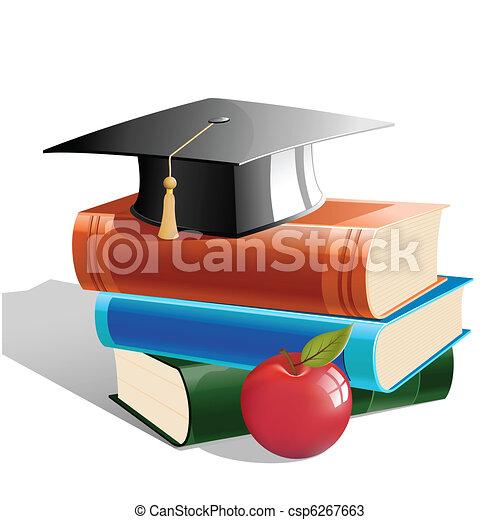 Libros con sombrero y manzana - csp6267663