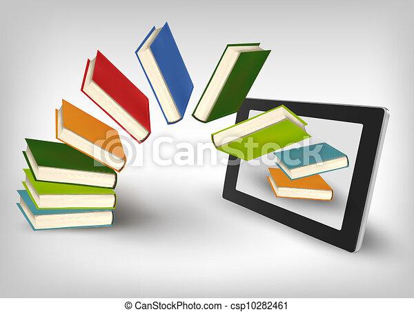 Libros volando en una tableta - csp10282461